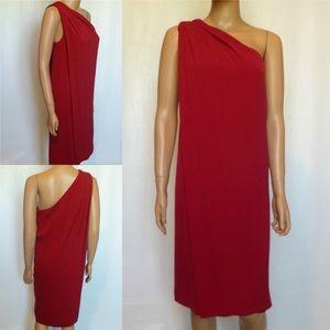 DVF Liluye Draped Silk One Shoulder Dress